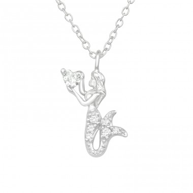Mermaid - 925 Sterling Silver Necklace with stones A4S40423