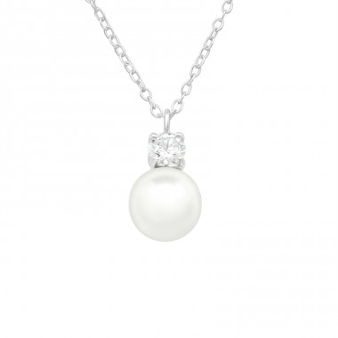 Round Zirconia with pearl - 925 Sterling Silver Necklace With Stones A4S40445