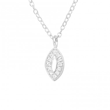 Marquise - 925 Sterling Silver Necklace with stones A4S40463
