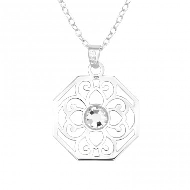 Flower - 925 Sterling Silver Necklace with stones A4S40480