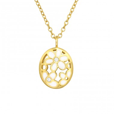 Golden white Flower with crystal - 925 Sterling Silver Necklace With Stones A4S40533