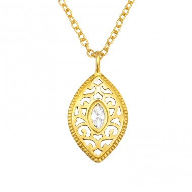 Golden Antique - 925 Sterling Silver Necklace With Stones A4S40534
