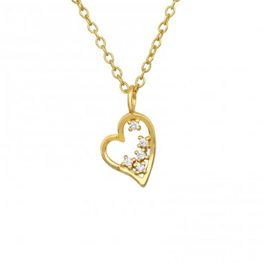 Golden Heart with Zirconia - 925 Sterling Silver Necklace With Stones A4S40535