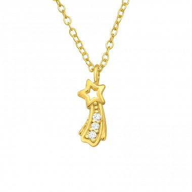 Golden Shooting Star - 925 Sterling Silver Necklace With Stones A4S40536