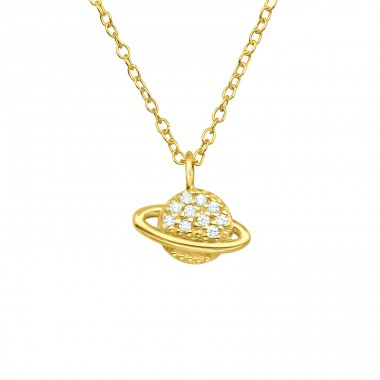 Golden Saturn planet with Zirconia - 925 Sterling Silver Necklace With Stones A4S40537