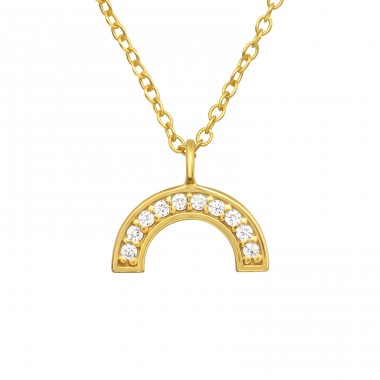 Golden Semicircle - 925 Sterling Silver Necklace With Stones A4S40538