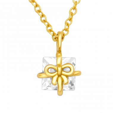 Golden Gift Box - 925 Sterling Silver Necklace With Stones A4S40600