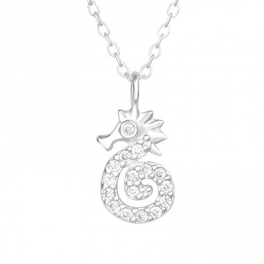 Seahorse with zirconia stones - 925 Sterling Silver Necklace With Stones A4S40602