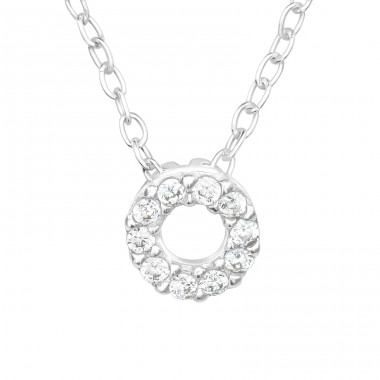 Circle - 925 Sterling Silver Necklace with stones A4S40620
