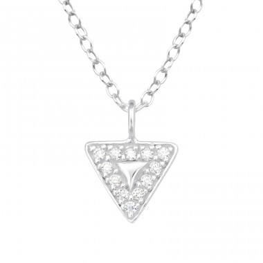 Triangle - 925 Sterling Silver Necklace with stones A4S40621