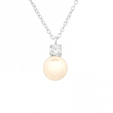 Zirconia with pearl - 925 Sterling Silver Necklace With Stones A4S40688