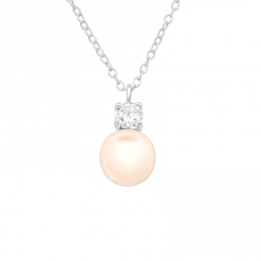 Zirconia with pearl - 925 Sterling Silver Necklace With Stones A4S40689