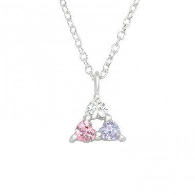 Heart tricolor - 925 Sterling Silver Necklace With Stones A4S41000
