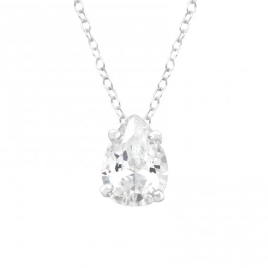 Pear - 925 Sterling Silver Necklace with stones A4S41011