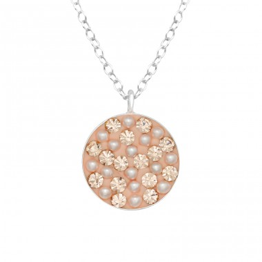 Round with mini pearls and crystals - 925 Sterling Silver Necklace With Stones A4S41013