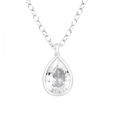 Pear Zirconia - 925 Sterling Silver Necklace With Stones A4S41096