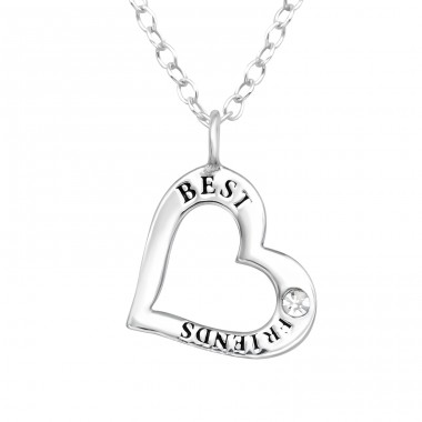 """Best friends"" Heart - 925 Sterling Silver Necklace With Stones A4S41098"