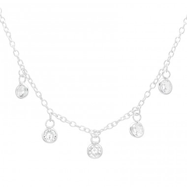 Five hanging stones necklace - 925 Sterling Silver Necklace With Stones A4S41617