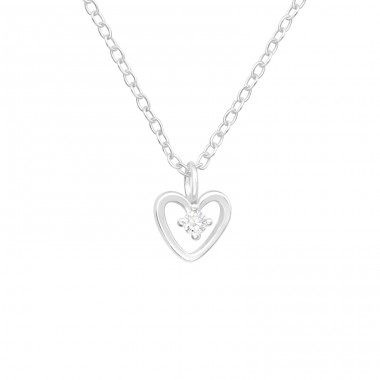 Heart - 925 Sterling Silver Necklace with stones A4S41632