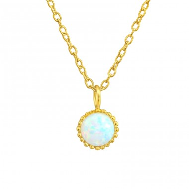 Golden with Opal - 925 Sterling Silver Necklace With Stones A4S42093