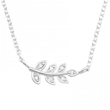 Leaves with Zirconia - 925 Sterling Silver Necklace With Stones A4S42178