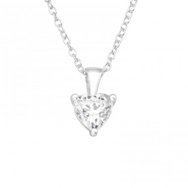Heart - 925 Sterling Silver Necklace with stones A4S42463