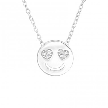 In Love smiley - 925 Sterling Silver Necklace With Stones A4S42466