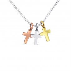 Crosses - 925 Sterling Silver Necklace without stones A4S17070