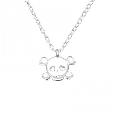 Skull - 925 Sterling Silver Necklace without stones A4S19310