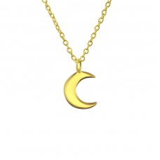 Crescent Moon - 925 Sterling Silver Necklace without stones A4S19583