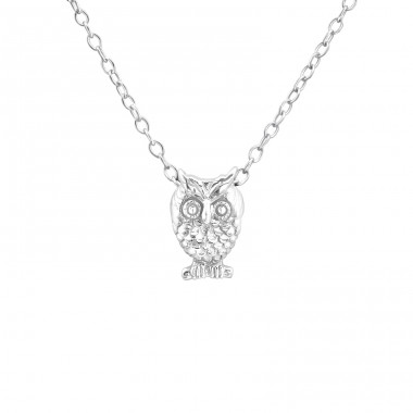 Owl - 925 Sterling Silver Necklace without stones A4S19672