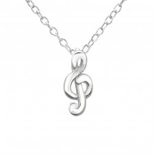 Treble Clef - 925 Sterling Silver Necklace without stones A4S19687