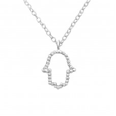 Hamsa - 925 Sterling Silver Necklace without stones A4S21818