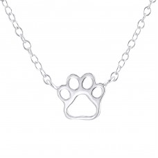 Paw Print - 925 Sterling Silver Necklace without stones A4S22403