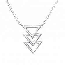 Triple Triangle Inline - 925 Sterling Silver Necklace without stones A4S22406