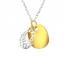 Patterned Oval - 925 Sterling Silver Necklace without stones A4S23328