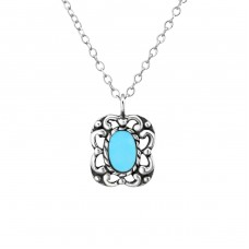 Oval - 925 Sterling Silver Necklace without stones A4S23374