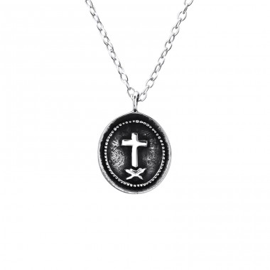 Cross Coin - 925 Sterling Silver Necklace without stones A4S23574