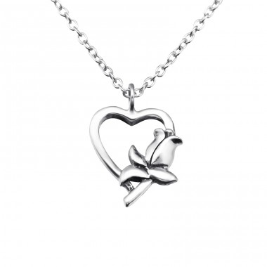 Heart - 925 Sterling Silver Necklace without stones A4S25033