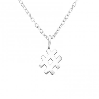 Hash Tag - 925 Sterling Silver Necklace without stones A4S25042
