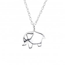 Origami Elephant - 925 Sterling Silver Necklace without stones A4S25819