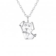 Origami Dog - 925 Sterling Silver Necklace without stones A4S26032
