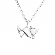 Origami Fox - 925 Sterling Silver Necklace without stones A4S26036