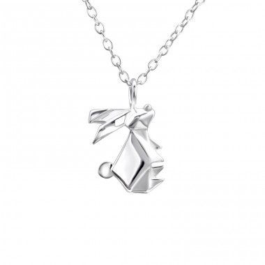 Origami Rabbit - 925 Sterling Silver Necklace without stones A4S26037
