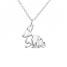 Origami Rabbit - 925 Sterling Silver Necklace without stones A4S26038