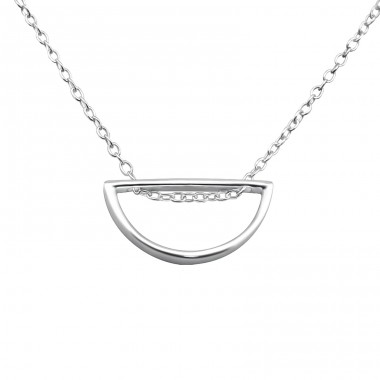 Semi-Circle - 925 Sterling Silver Necklace without stones A4S26271