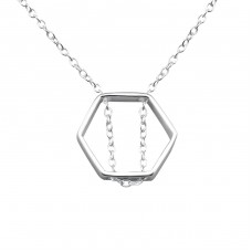 Hexagon - 925 Sterling Silver Necklace without stones A4S26272