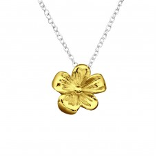 Flower - 925 Sterling Silver Necklace without stones A4S27797