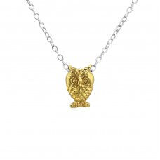 Owl - 925 Sterling Silver Necklace without stones A4S27813