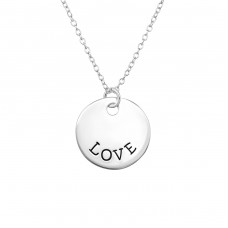Love Tag - 925 Sterling Silver Necklace without stones A4S30098